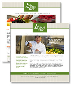 Image of thegoodtable.com website pages