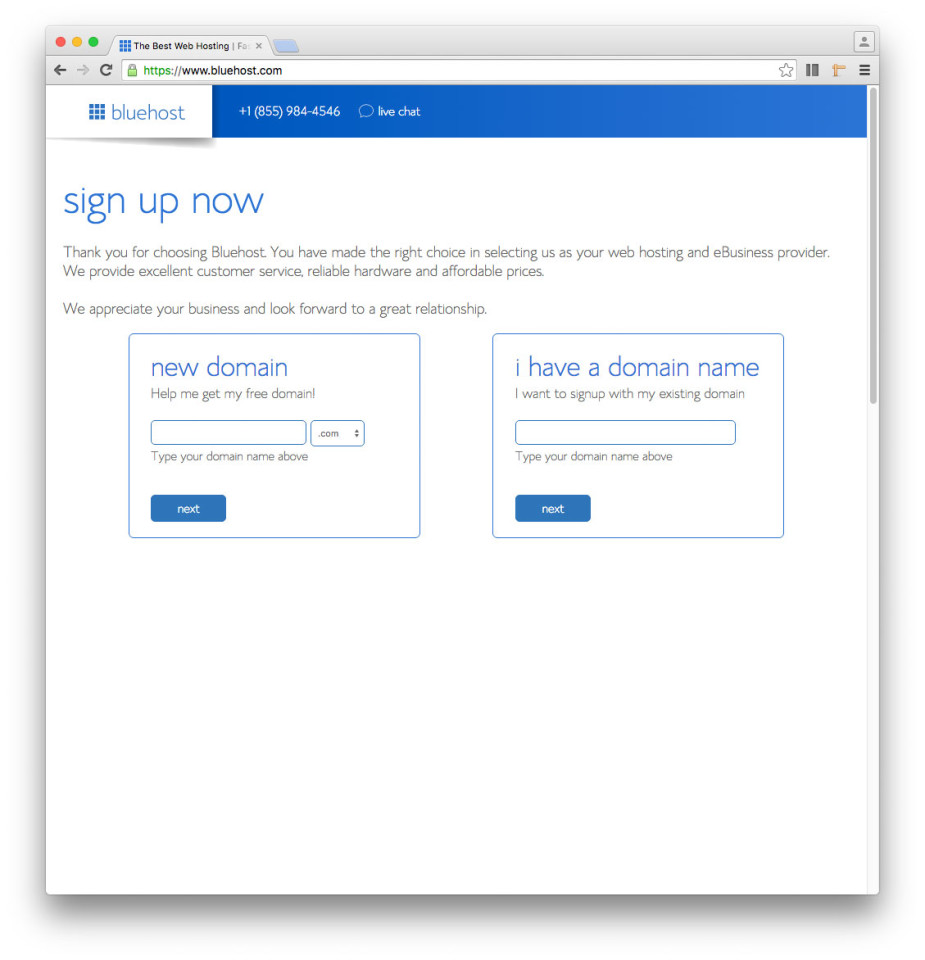 How to set up a Bluehost hosting account